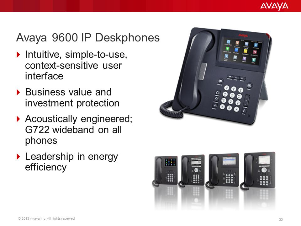 Avaya 9600 IP Deskphones Intuitive, simple-to-use, context-sensitive user interface. Business value and investment protection.