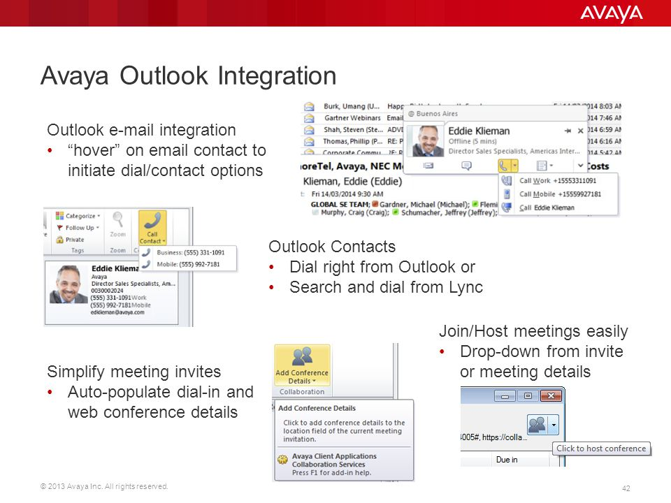 Avaya Outlook Integration