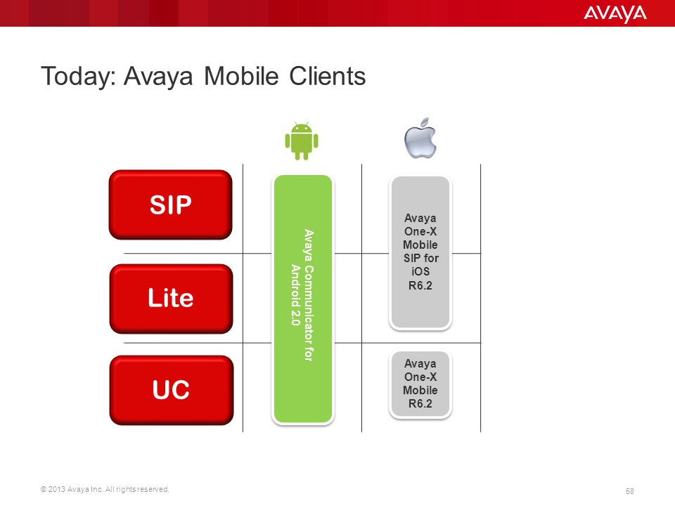 Today: Avaya Mobile Clients