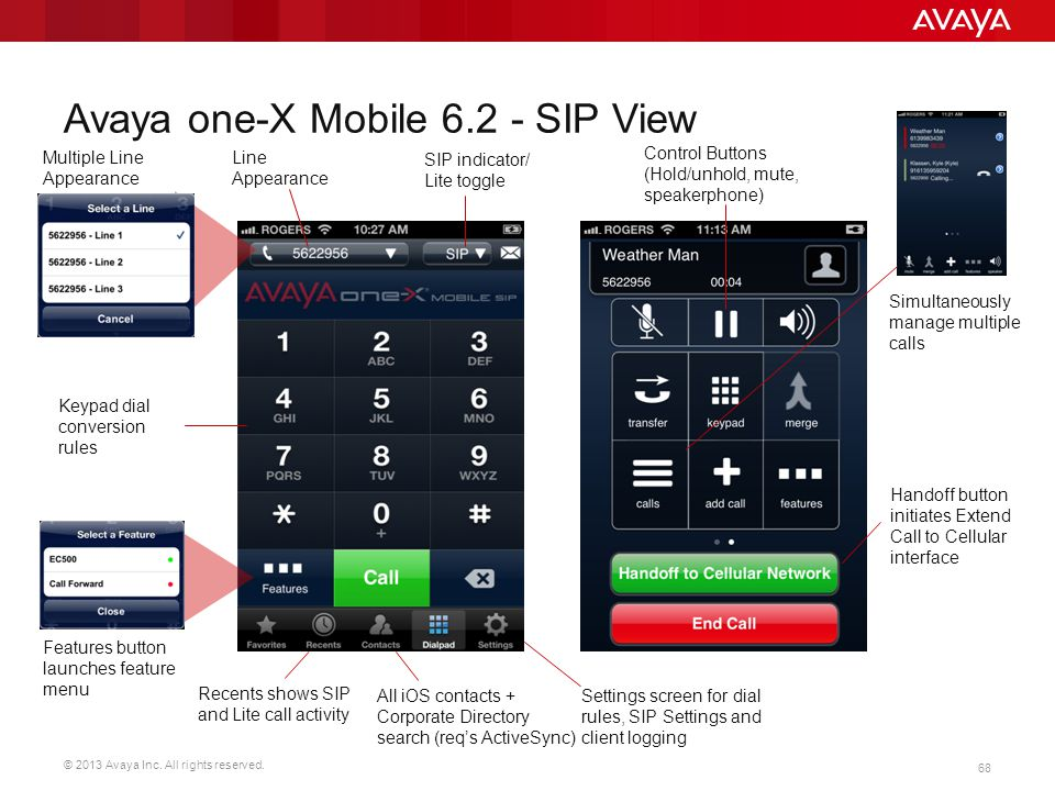 Avaya one-X Mobile 6.2 - SIP View