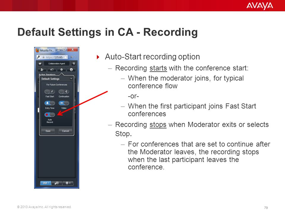 Default Settings in CA - Recording