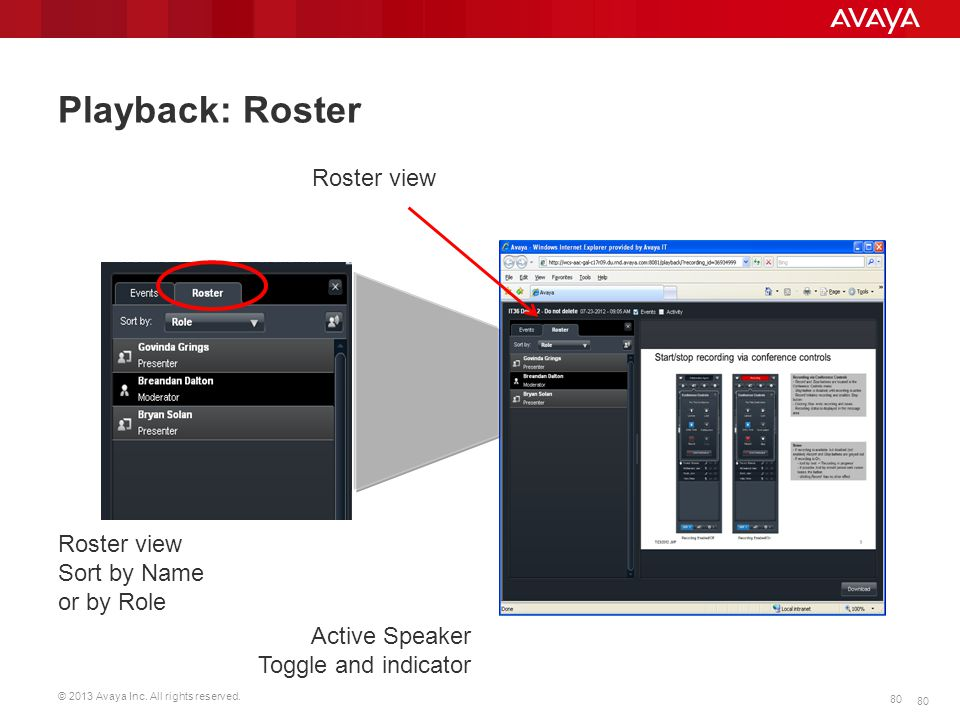 Playback: Roster Roster view Roster view Sort by Name or by Role