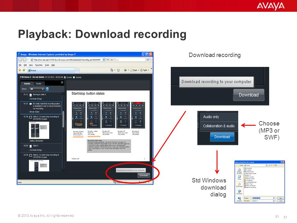 Playback: Download recording