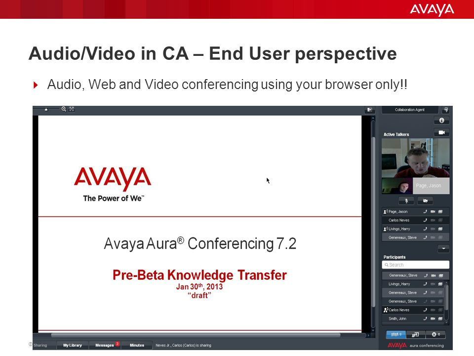 Audio/Video in CA – End User perspective