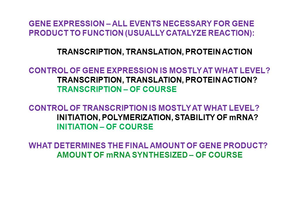 GENE EXPRESSION – ALL EVENTS NECESSARY FOR GENE