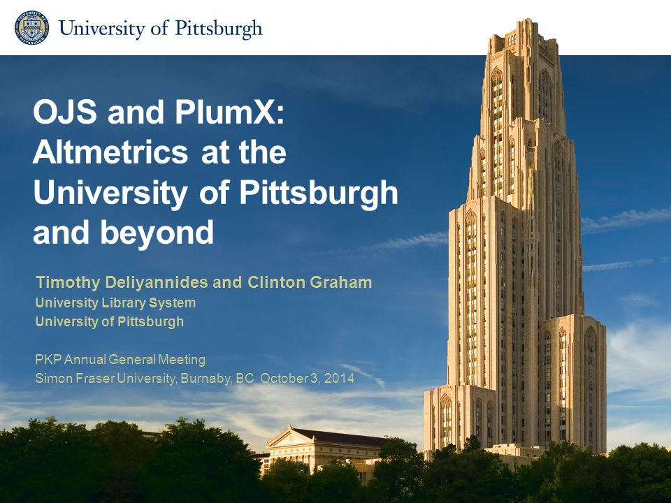 OJS and PlumX: Altmetrics at the University of Pittsburgh and beyond