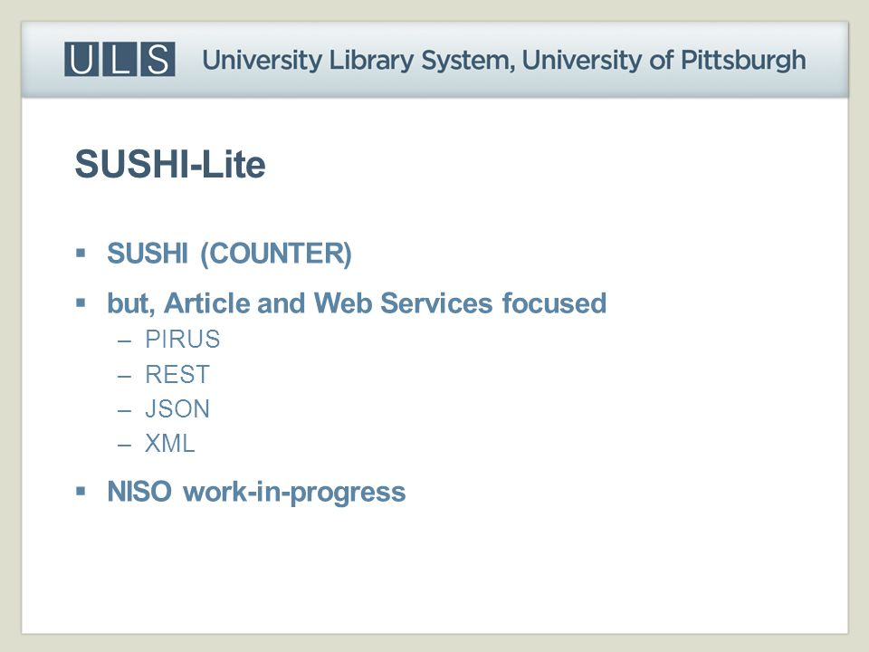SUSHI-Lite SUSHI (COUNTER) but, Article and Web Services focused