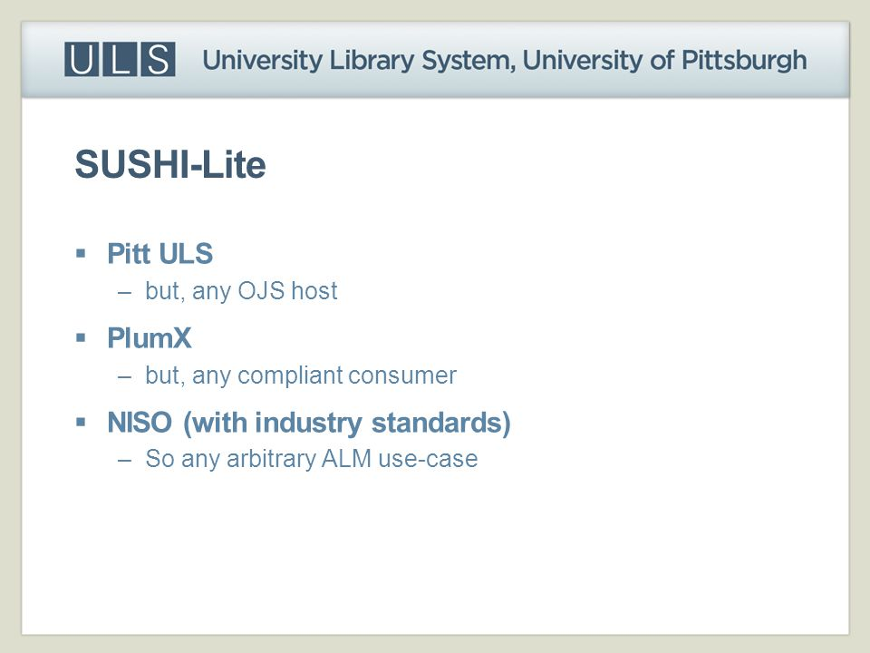 SUSHI-Lite Pitt ULS PlumX NISO (with industry standards)