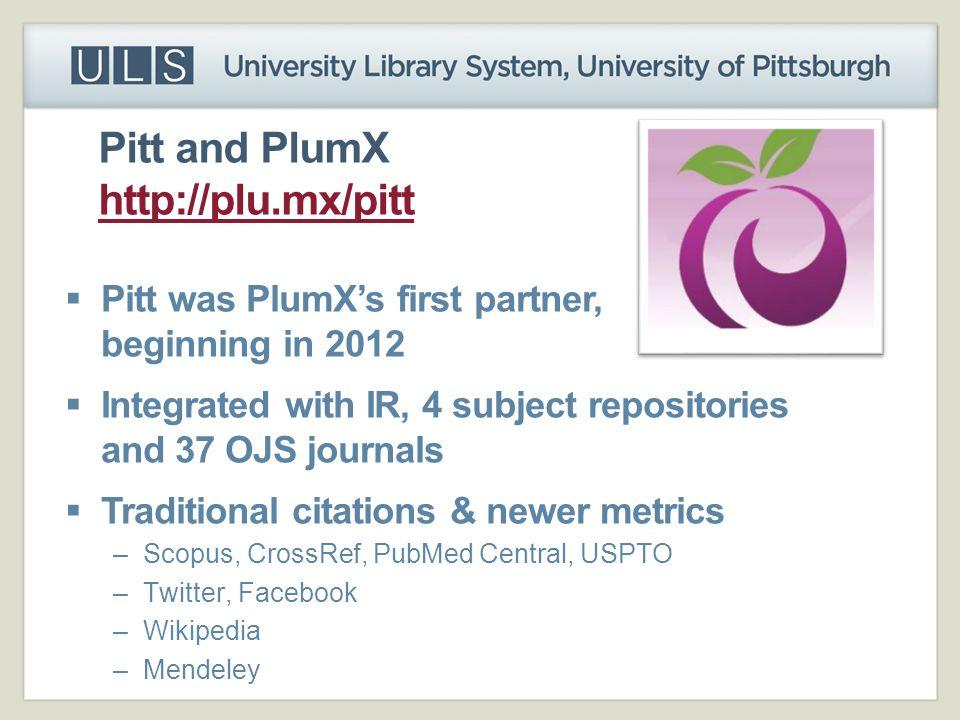 Pitt and PlumX http://plu.mx/pitt