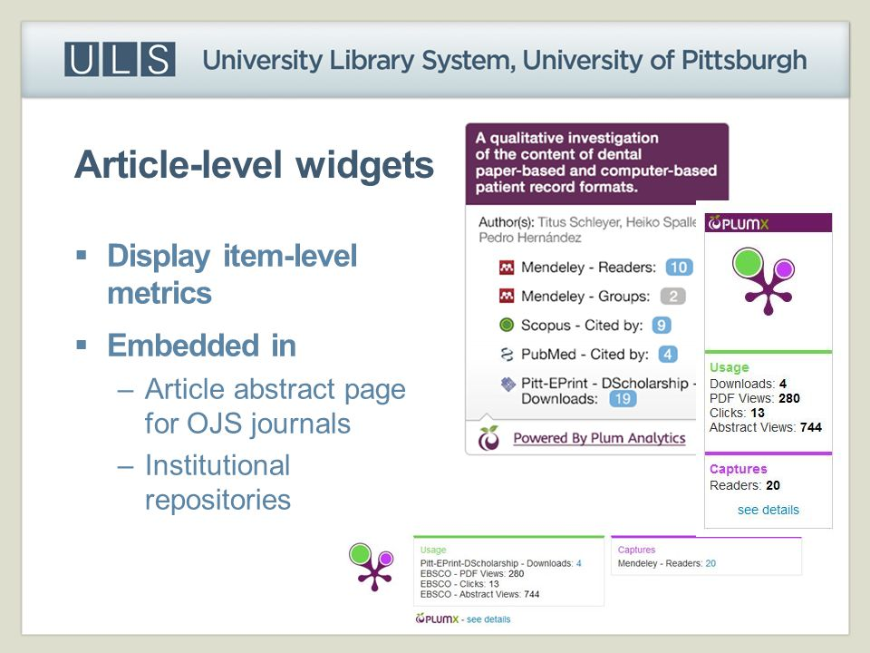Article-level widgets
