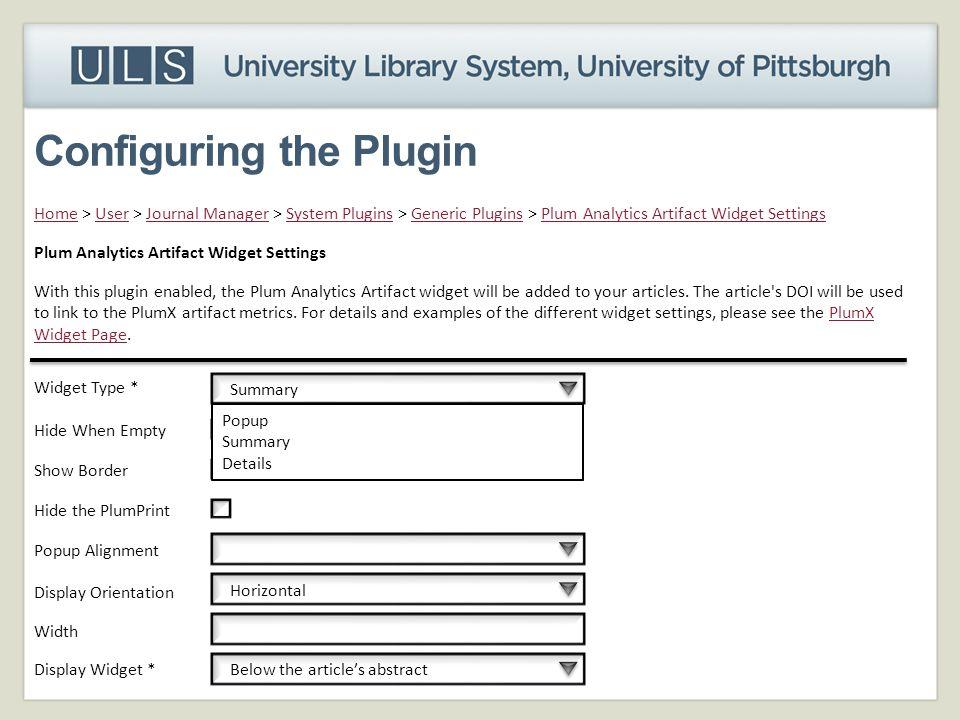 Configuring the Plugin