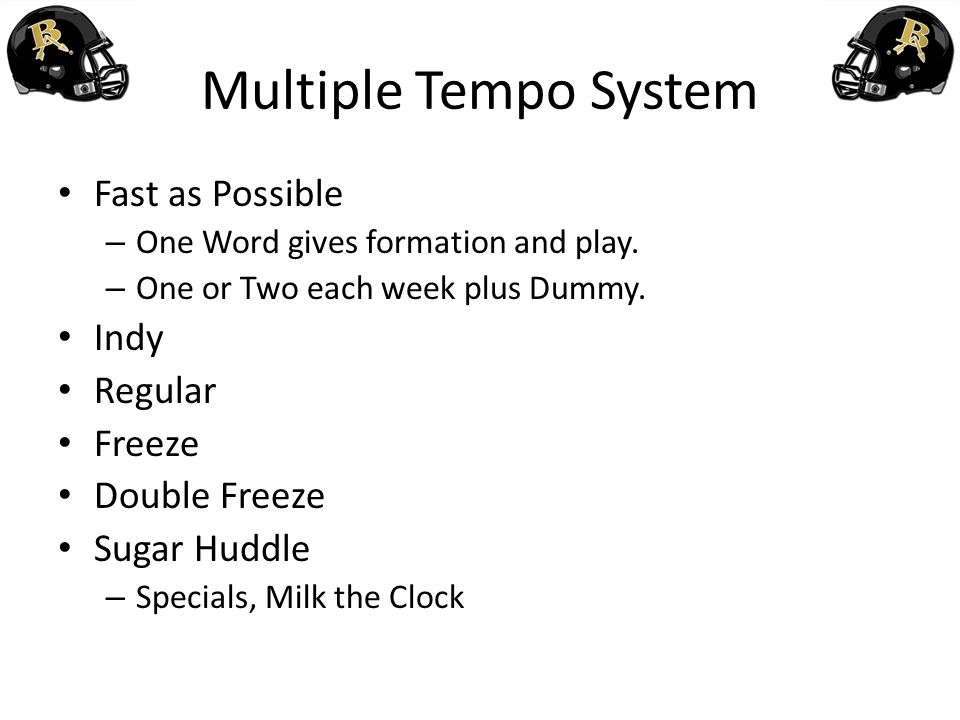 Multiple Tempo System Fast as Possible Indy Regular Freeze