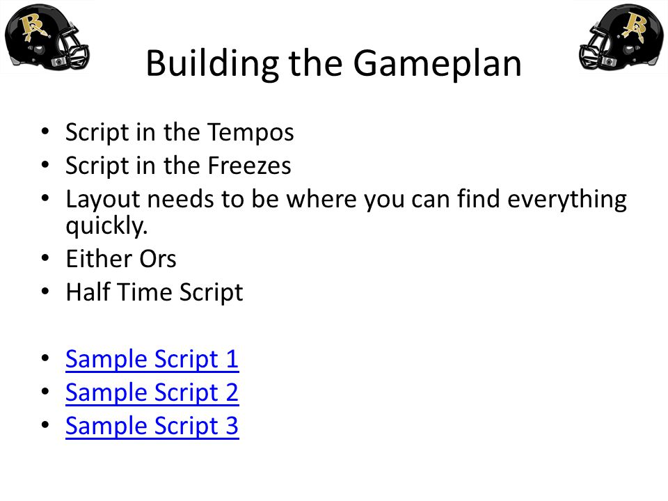 Building the Gameplan Script in the Tempos Script in the Freezes
