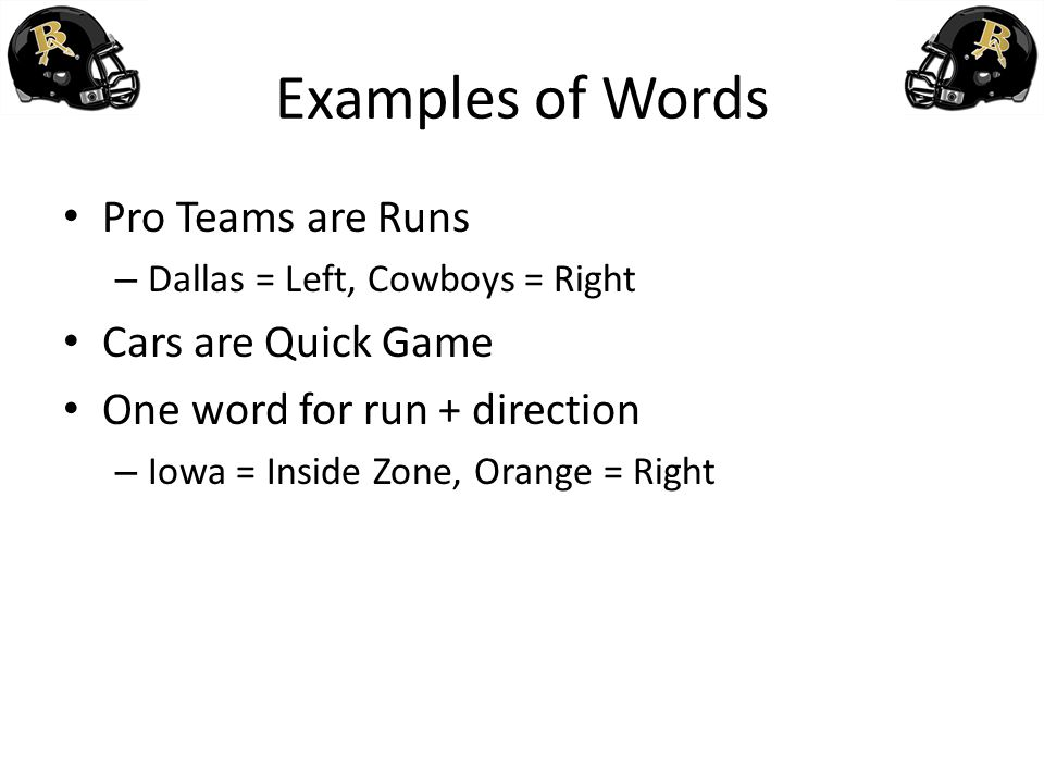 Examples of Words Pro Teams are Runs Cars are Quick Game