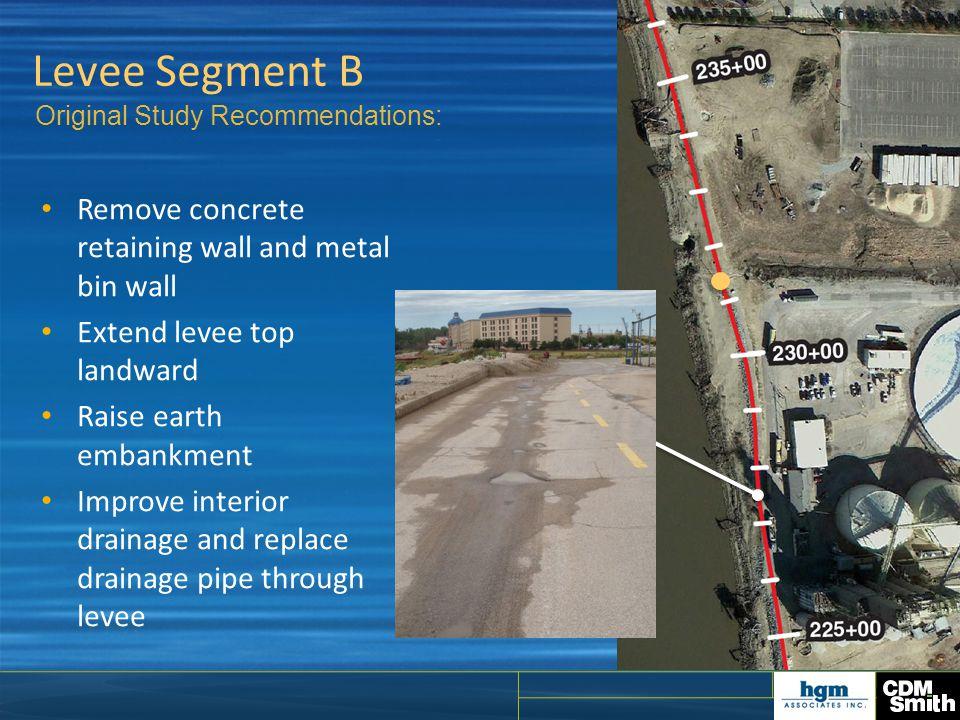 Levee Segment B Remove concrete retaining wall and metal bin wall