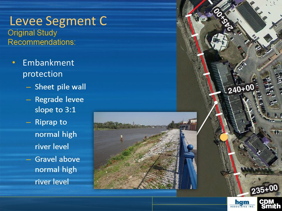 Levee Segment C Embankment protection Sheet pile wall