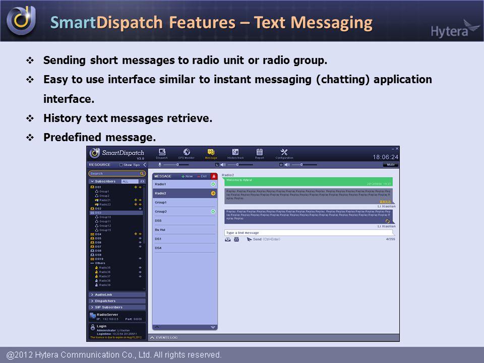 SmartDispatch Features – Text Messaging