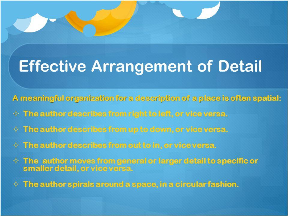 Effective Arrangement of Detail