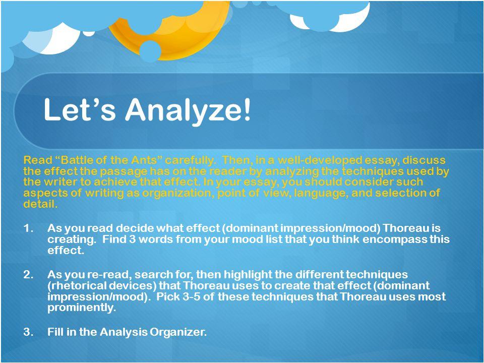 Let's Analyze!