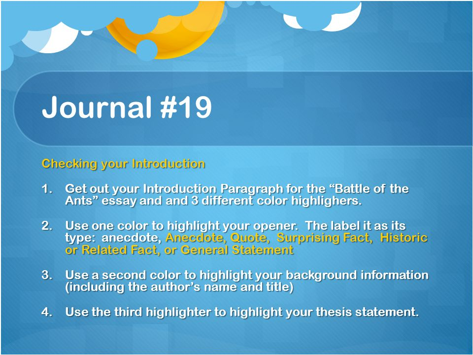 Journal #19 Checking your Introduction