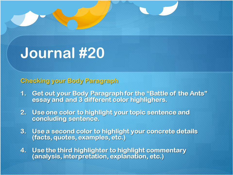 Journal #20 Checking your Body Paragraph