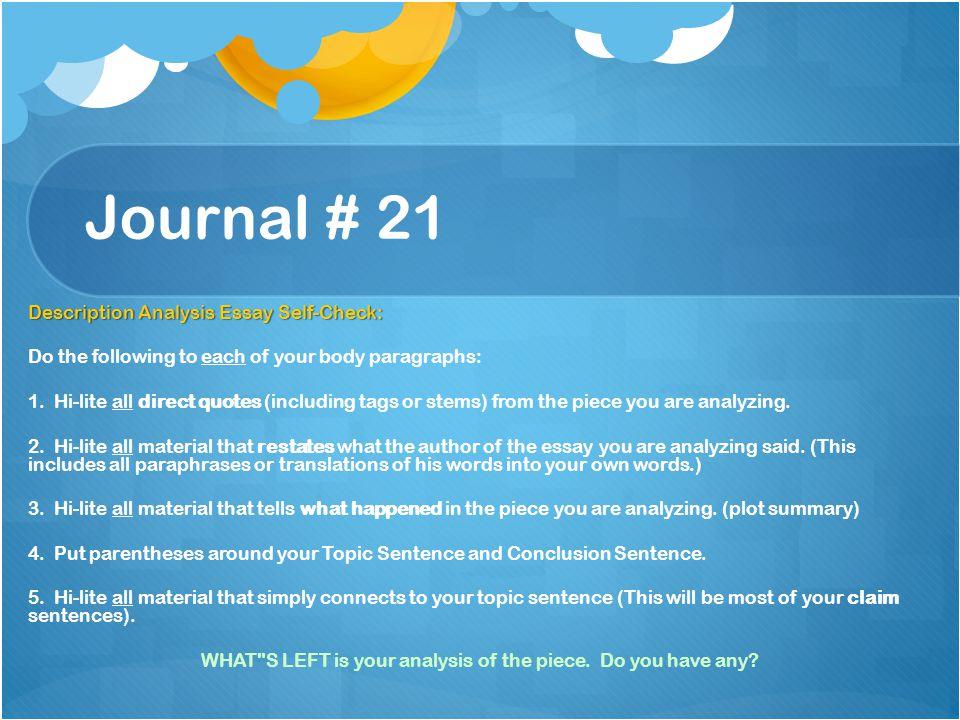 Journal # 21