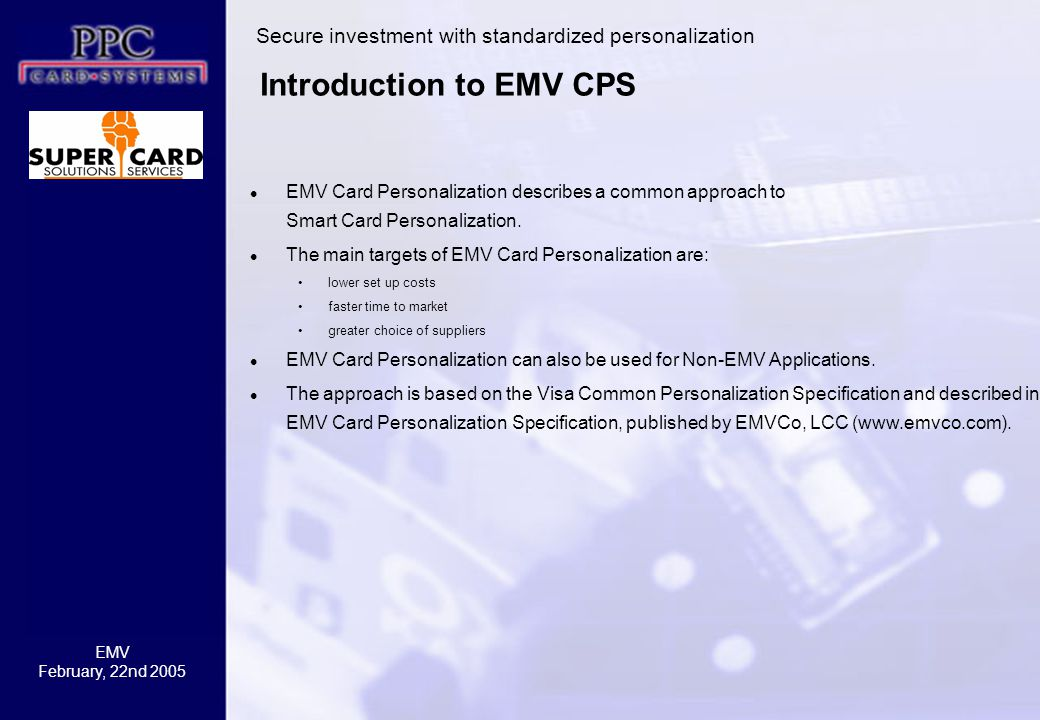 Introduction to EMV CPS