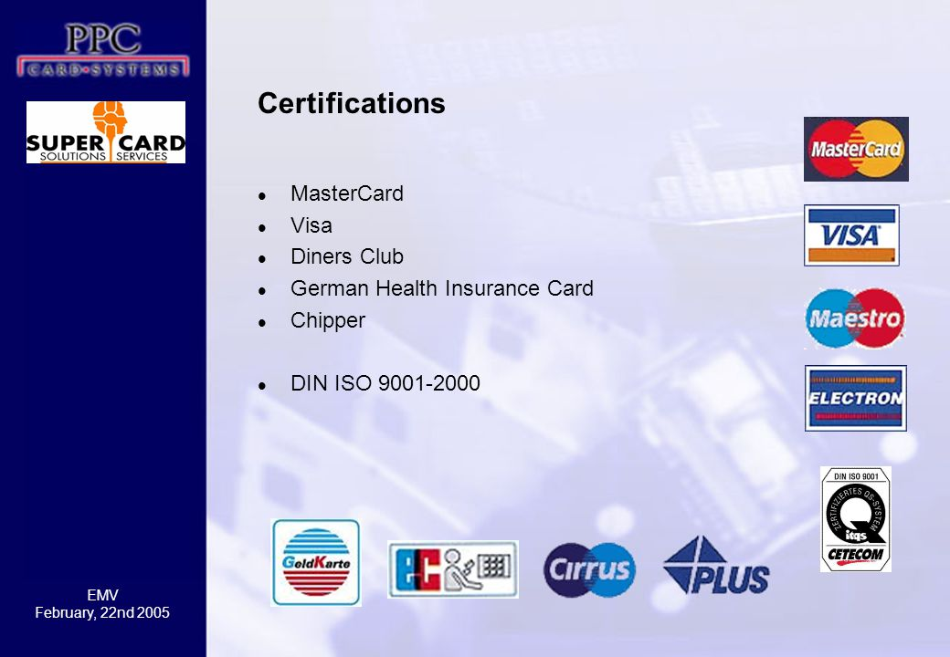 Certifications MasterCard Visa Diners Club