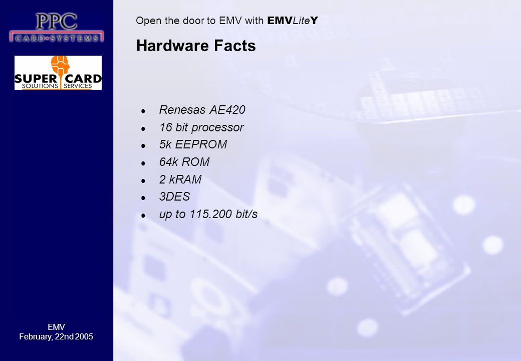 Hardware Facts Renesas AE420 16 bit processor 5k EEPROM 64k ROM 2 kRAM