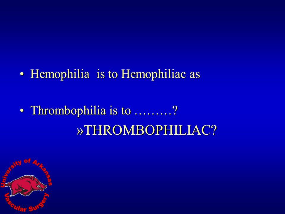 THROMBOPHILIAC Hemophilia is to Hemophiliac as