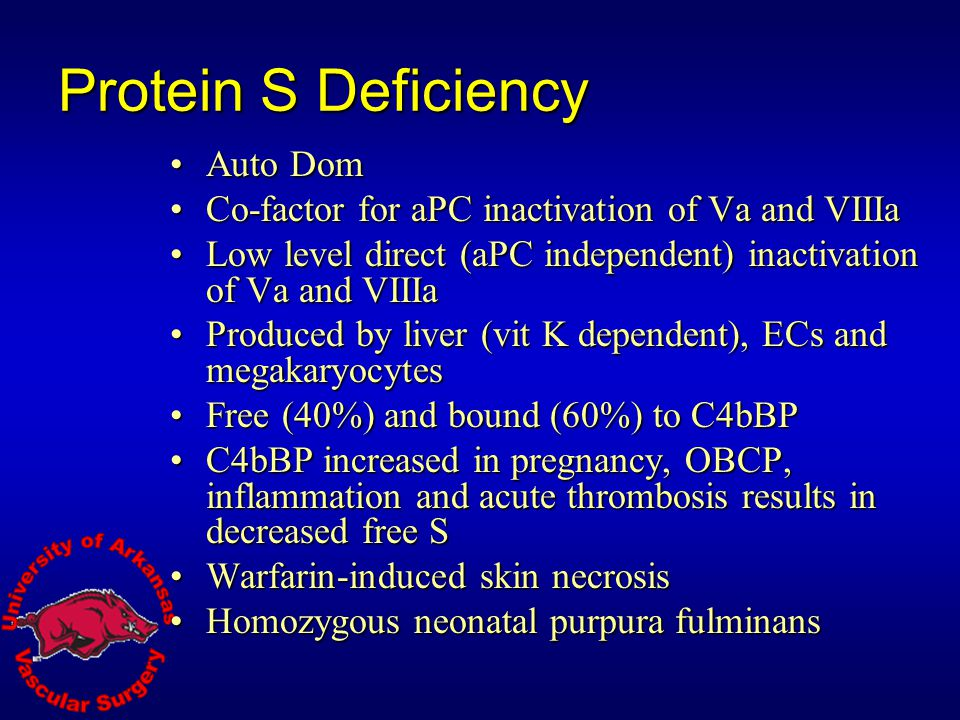 Protein S Deficiency Auto Dom