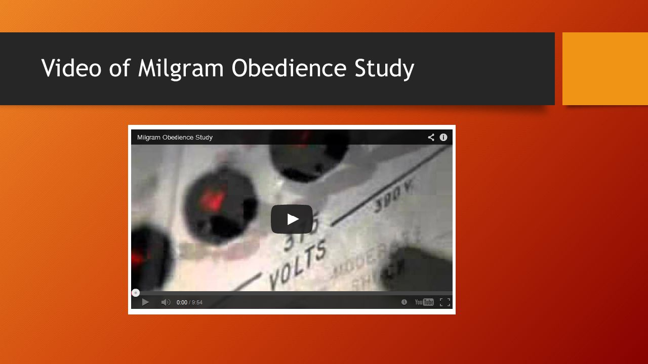 Video of Milgram Obedience Study