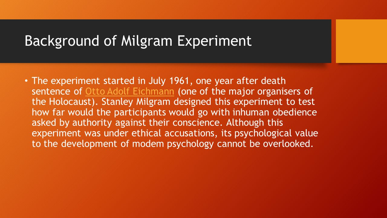 Background of Milgram Experiment