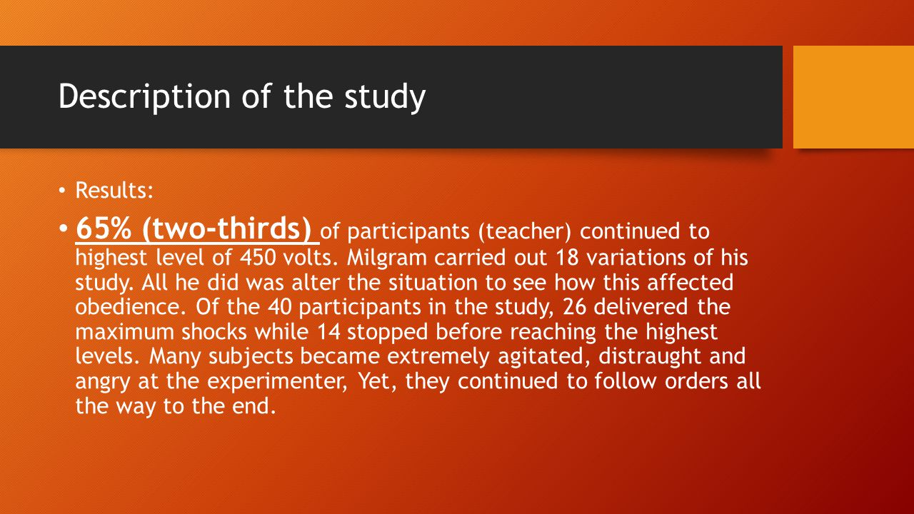 Description of the study