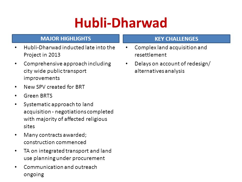Hubli-Dharwad MAJOR HIGHLIGHTS KEY CHALLENGES