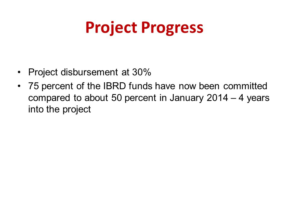 Project Progress Project disbursement at 30%