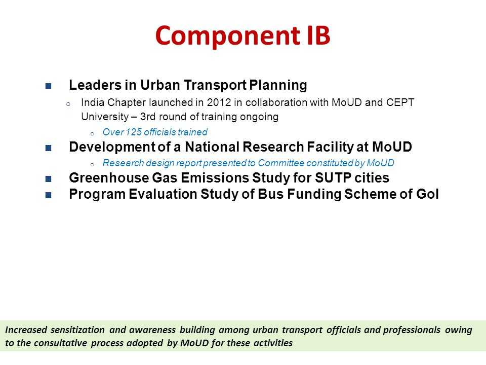 Component IB Leaders in Urban Transport Planning