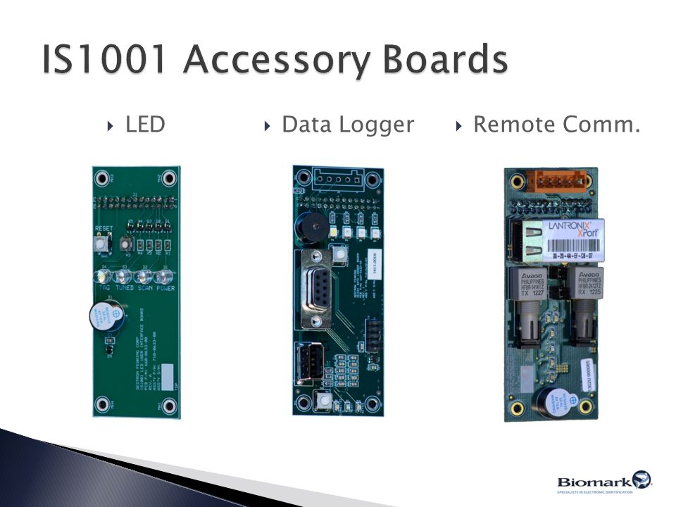IS1001 Accessory Boards LED Data Logger Remote Comm.