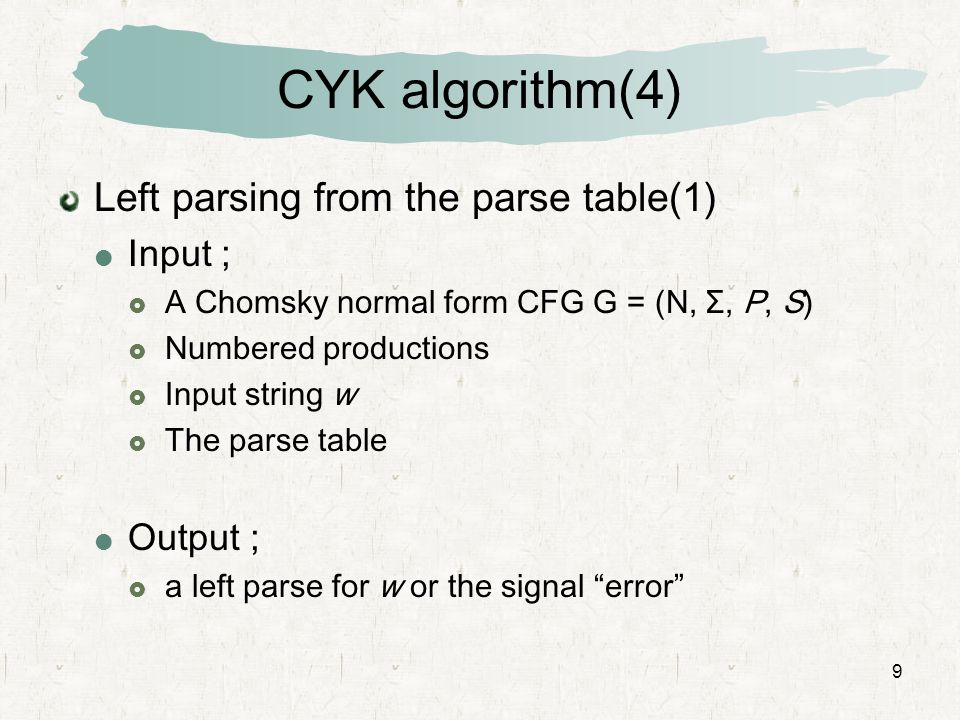 CYK algorithm(4) Left parsing from the parse table(1) Input ; Output ;