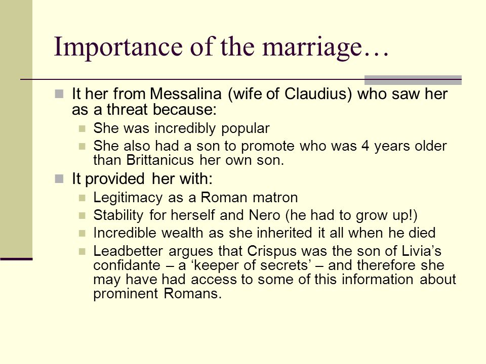 Importance of the marriage…