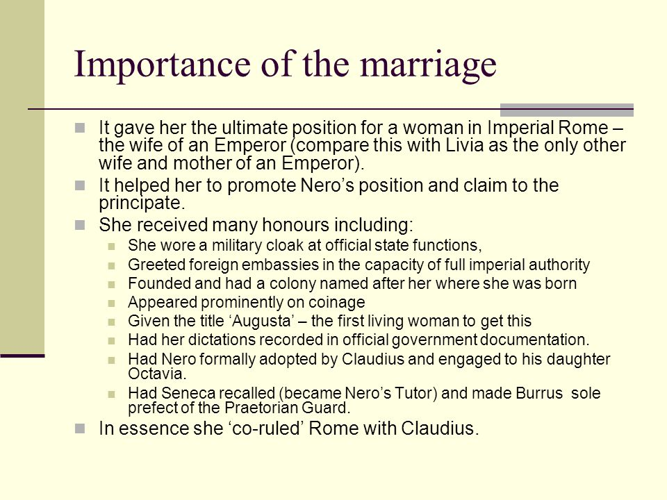 Importance of the marriage