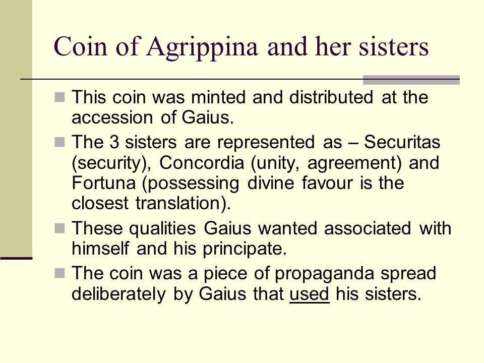 Coin of Agrippina and her sisters