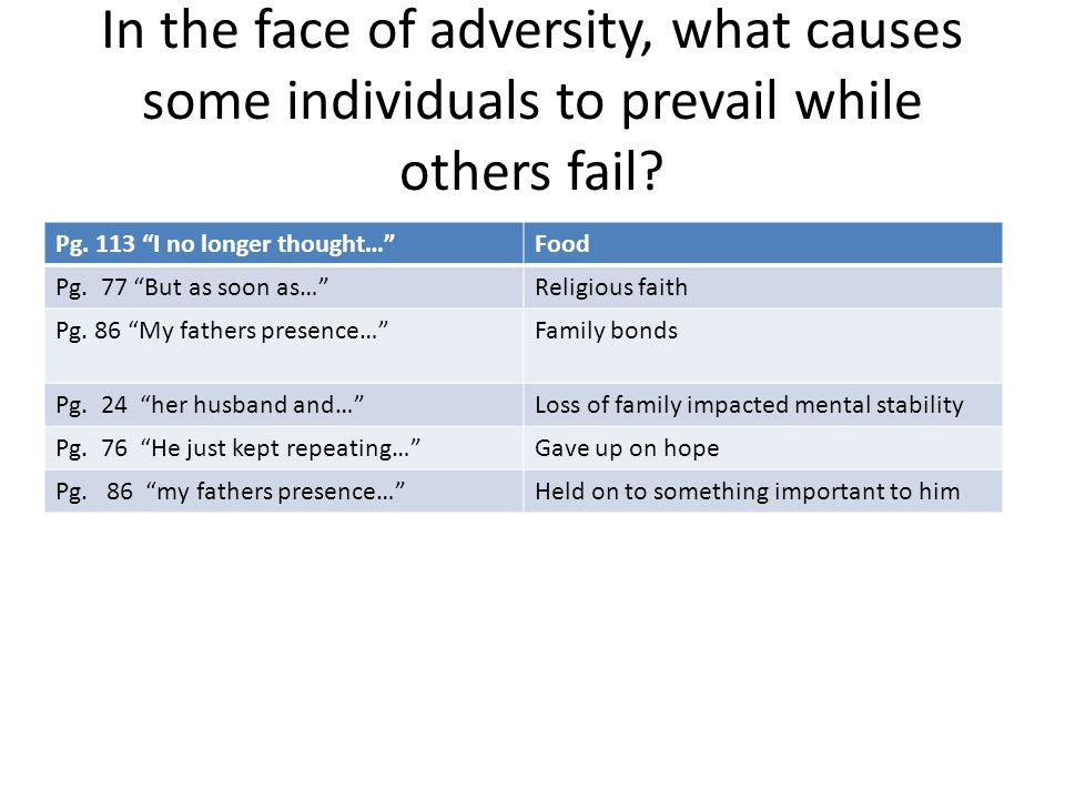 In the face of adversity, what causes some individuals to prevail while others fail
