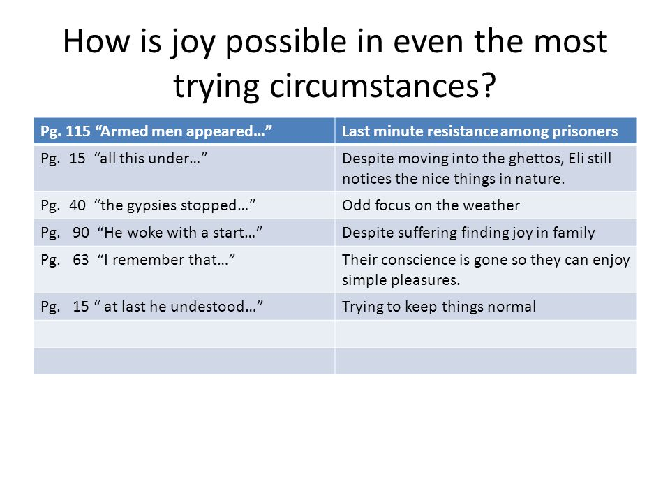 How is joy possible in even the most trying circumstances