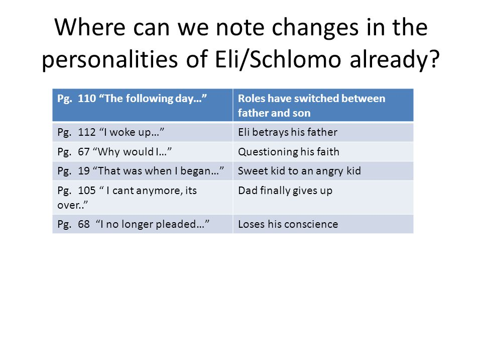 Where can we note changes in the personalities of Eli/Schlomo already