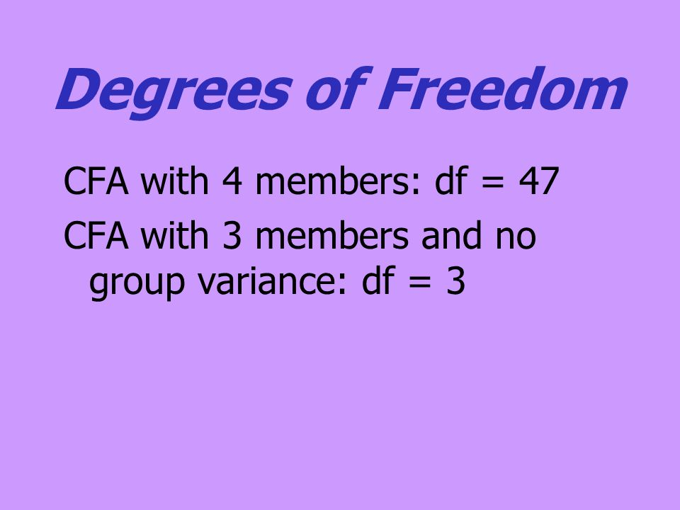 Degrees of Freedom CFA with 4 members: df = 47