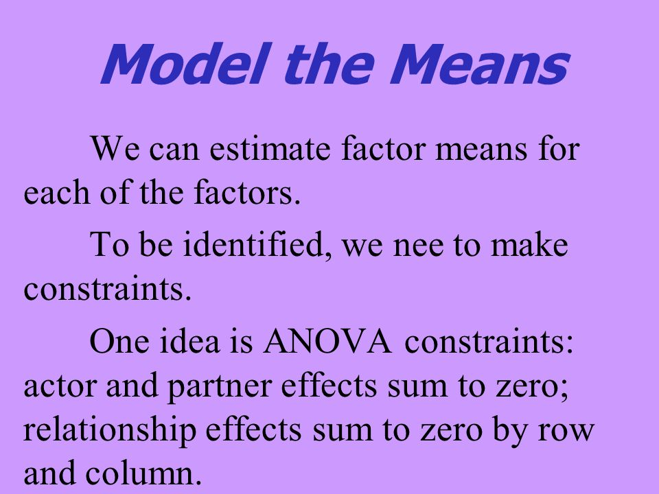 Model the Means