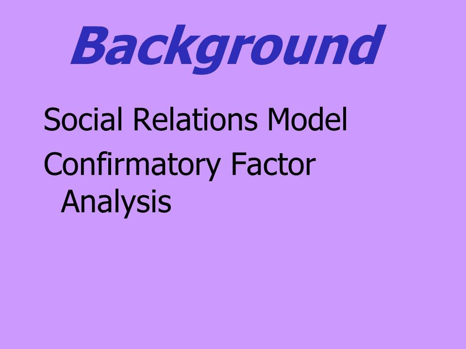Background Social Relations Model Confirmatory Factor Analysis