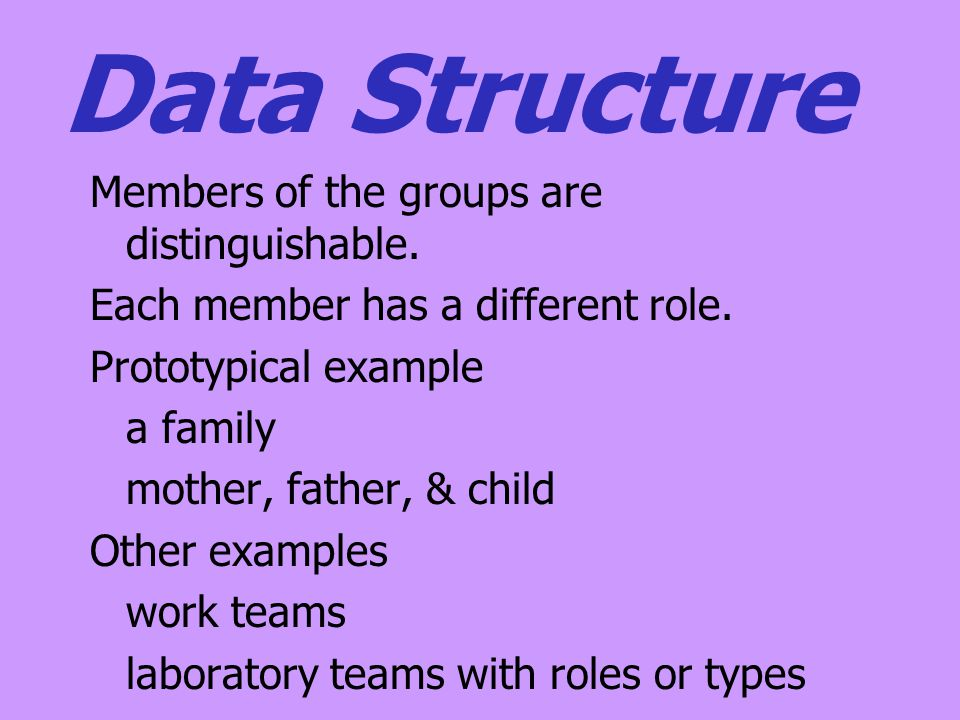 Data Structure Members of the groups are distinguishable.