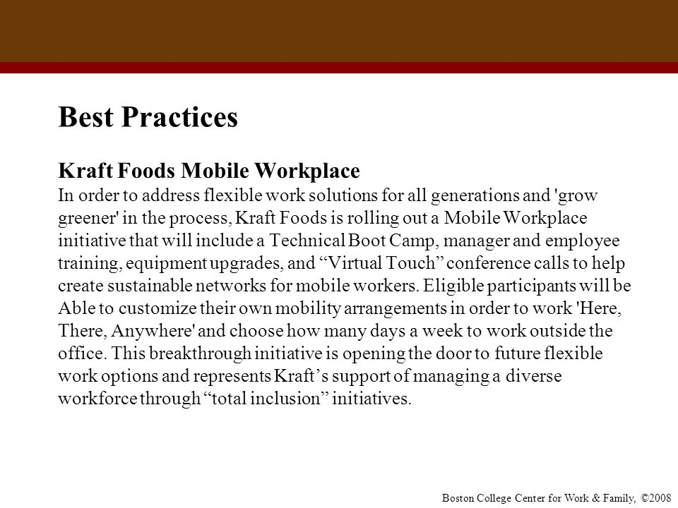 Best Practices Kraft Foods Mobile Workplace